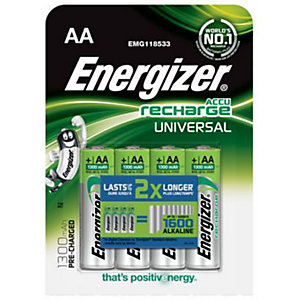 Energizer Precharged Rechargeable Universal Batteries AA 4 Pack