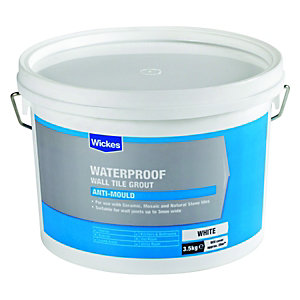 Wickes Waterproof Wall Tile Grout White 3.5kg
