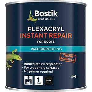 Bostik Flexacryl Instant Repair for Roofs Black 1kg