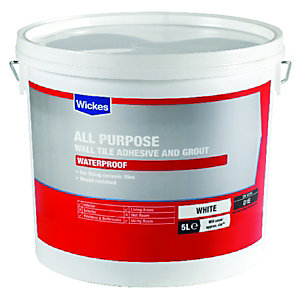 Wickes All Purpose Wall Tile Adhesive & Grout White 5L
