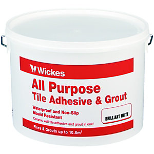 Wickes All Purpose Wall Tile Adhesive & Grout White 10L