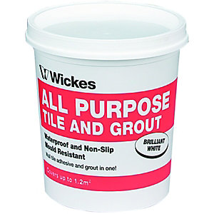 Wickes All Purpose Wall Tile Adhesive & Grout White 1L