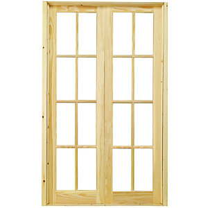 Wickes Newland Internal French Door Set Pine Glazed 8 Lite 2007x1218mm