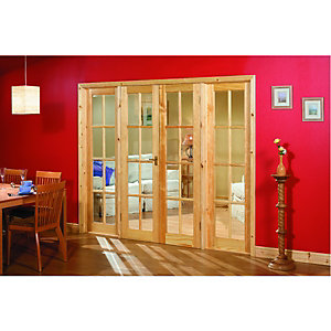 Wickes Newland Internal French Doors with Side Panels Pine Glazed 8 Lite 2007x2494mm