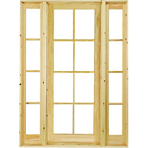 Wickes Newland Internal French Door with 2 Demi Panels Pine Glazed 8 Lite 2007x1488mm