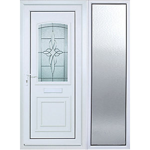 Wickes Medway 1 Sidelight uPVC Door 2085x1520mm Right Opening