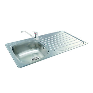 Wickes Carron Phoenix Kitchen Sink & Tap Pack Stainless Steel
