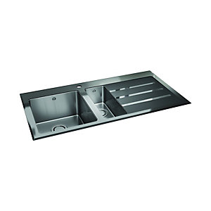 Wickes Rae 1.5 Bowl Lhd Kitchen Sink Stainless Steel + Black Glass