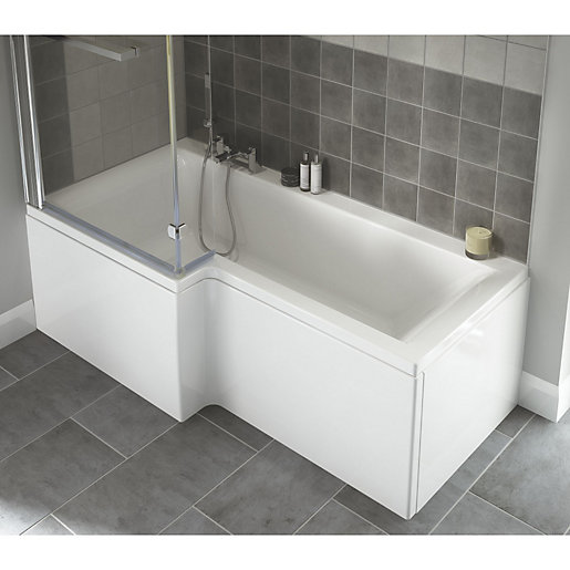 wickes asuni shower bath left hand white 1700mm wickes co uk