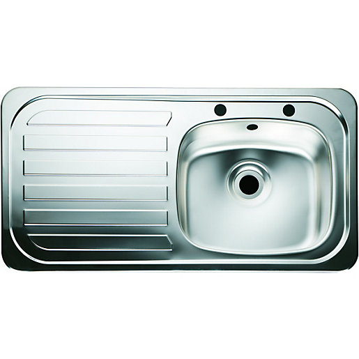 wickes single bowl kitchen sink stainless steeel lh. Black Bedroom Furniture Sets. Home Design Ideas