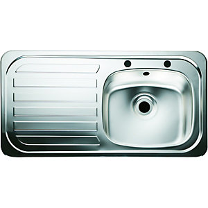 Wickes Single Bowl Kitchen Sink Stainless Steeel Lh Drainer