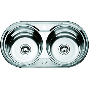 Wickes Double Round Bowl Kitchen Sink Stainless Steel