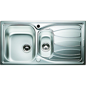 Wickes Reversible 1.5 Bowl Kitchen Sink Stainless Steel