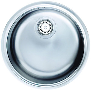 Wickes Single Round Bowl Kitchen Sink Pack Stainless Steel