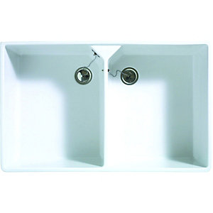 Wickes Butler 2 Bowl Kitchen Sink Ceramic White