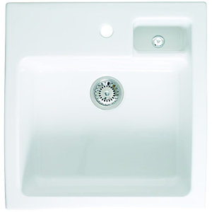 Wickes Butler 1 Bowl Kitchen Sink Ceramic White