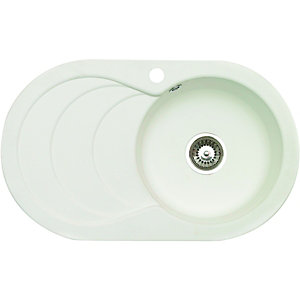 Wickes Asterite Oval Single Bowl Kitchen Sink White