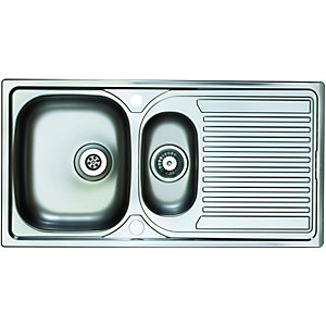 Wickes 1 1/2 Bowl Reversible Kitchen Sink Stainless Steel
