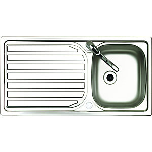 Wickes Single Bowl Reversible Kitchen Sink Tap Pack Stainless Steel