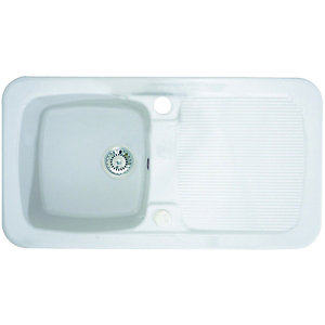 Wickes Farmhouse 1 Bowl Kitchen Sink Ceramic White