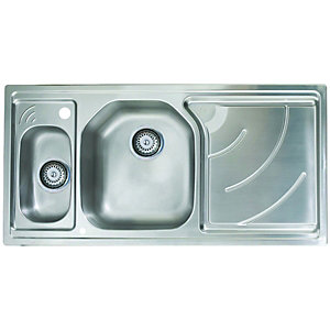 Wickes 1 1/2 Bowl Elite Kitchen Sink Pack Stainless Steel LH Drainer