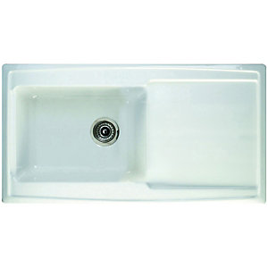 Contemp 1 Bowl Ceramic Sink White