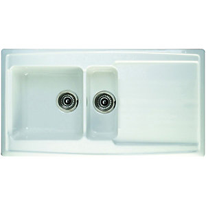Wickes Contemporary 1.5 Bowl Ceramic Sink White