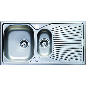 Wickes 1 1/2 Bowl Luxe Reversible Kitchen Sink Pack Stainless Steel