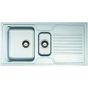 Wickes 1 1/2 Bowl Linear Kitchen Sink Pack Stainless Steel