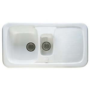 Wickes Ceramic Farmhouse 1.5 Bowl Sink White