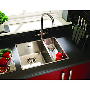 Wickes 1 1/2 Bowl Flush Inset Kitchen Sink Stainless Steel