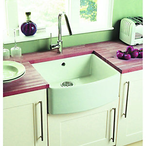 Bow Front 1 Bowl Ceramic Sink White