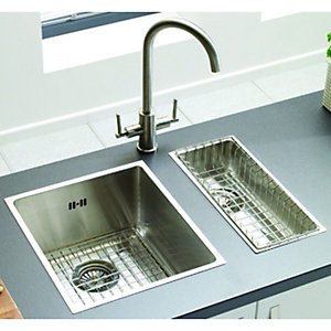 Wickes Flush Inset Full Length Half Bowl Kitchen Sink Stainless Steel
