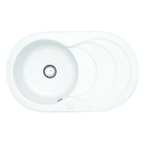 Wickes Ceramic Single Oval Bowl Sink White