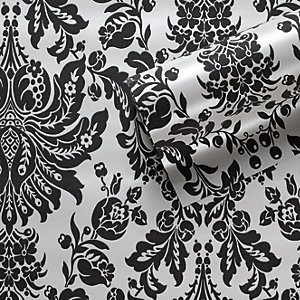 Graham & Brown Flock Effect Elizabeth Decorative Wallpaper Black/White 10m