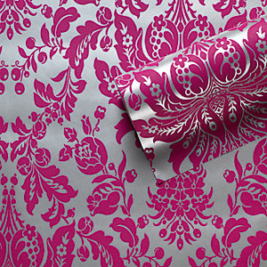 Graham & Brown Flock Effect Elizabeth Decorative Wallpaper Pink/Silver 10m