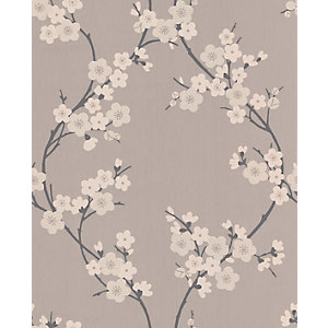 Superfresco Textured Cherry Blossom Decorative Wallpaper Taupe/Charcoal 10m