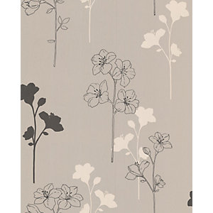 Superfresco Textured Meadow Decorative Wallpaper Taupe/Charcoal/Cream 10m