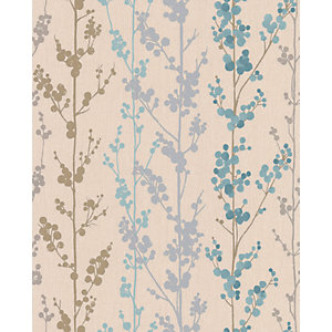Superfresco Easy Berries Decorative Wallpaper Teal 10m