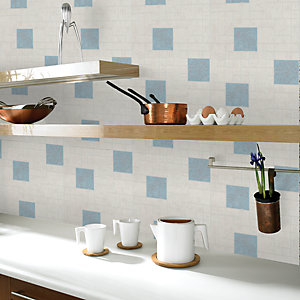 Contour Anti-Bacterial Parsley Kitchen & Bathroom Wallpaper Blue 10m