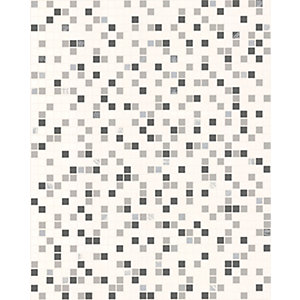 Contour Checker Kitchen & Bathroom Wallpaper Black/White 10m