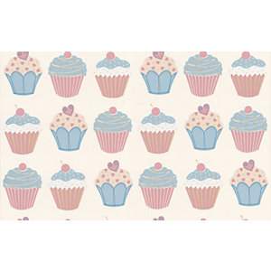 Contour Cup Cake Kitchen & Bathroom Wallpaper Pastels 10m