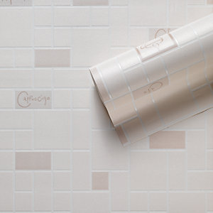 Contour Cafe Culture Kitchen & Bathroom Vinyl Wallpaper Beige 10m