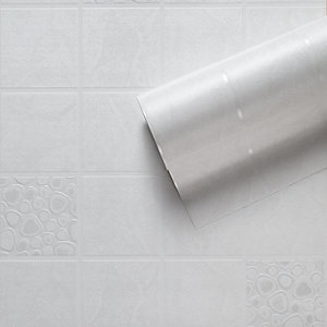 Contour Pebble Tile Kitchen & Bathroom Vinyl Wallpaper Neutral 10m