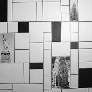 Contour NYC Tile Kitchen & Bathroom Wallpaper Black/White 10m