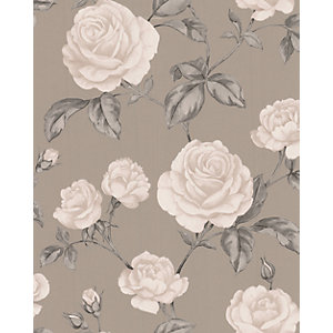 Graham & Brown Countess Decorative Wallpaper Taupe 10m