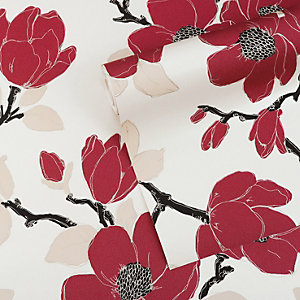 Graham & Brown Mode Elinor Decorative Wallpaper Carmine 10m