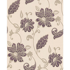 Graham & Brown Premier Juliet Decorative Wallpaper Plum 10m