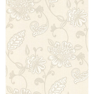 Graham & Brown Premier Juliet Decorative Wallpaper White 10m