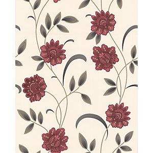 Graham & Brown Premier Sadie Decorative Wallpaper Red/Cream 10m